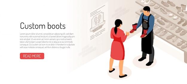 Schuhmacher mit seinem kunden in der werkstatt isometrisch