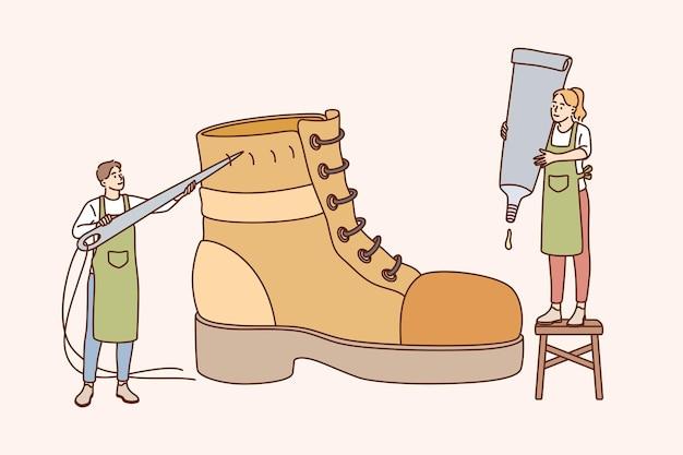 Schuhmacher und design schuhkonzept