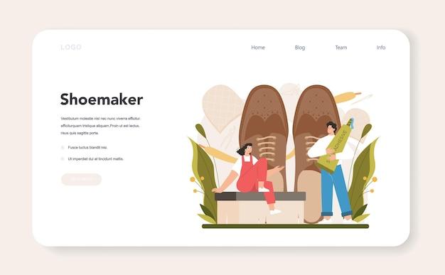 Schuhmacher-webbanner oder landingpage-handwerker mit schürze