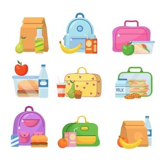 Schul-lunchboxen für kinderillustrationen eingestellt