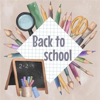 Schulartikel und elemente vektor-banner