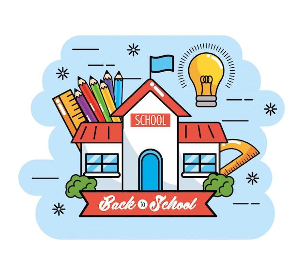 Schulausbildung mit bleistiftfarben und lineal