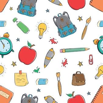 Schulausrüstung oder zubehör in nahtlose muster mit doodle-stil