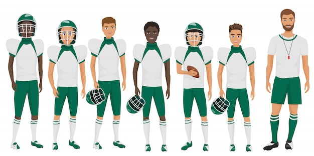 Schulbasketballteamkerle, die mit ihrem trainertrainer stehen. cartoon flache abbildung.