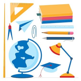 Schulbedarf eingestellt. globus, lehrbücher, zeiger, kompass, kugelschreiber-lineal flaches design-vektor-illustration