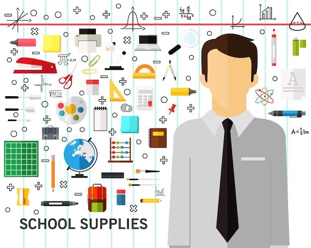 Schulbedarf-konzept-hintergrund. flache symbole.