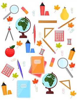 Schulbedarfmuster vektorhintergrund. zurück zu den bildungsschulwerkzeugen