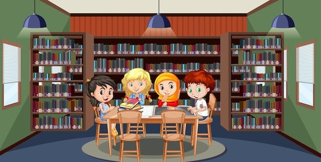 Schulbibliotheksinnenraum mit kindergruppe