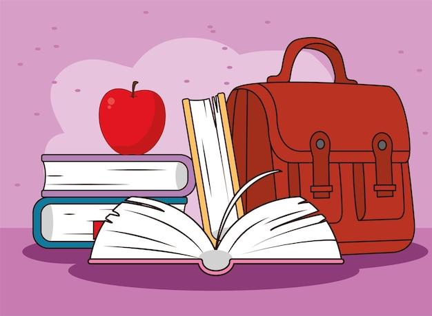 Schulbildungstasche mit büchern