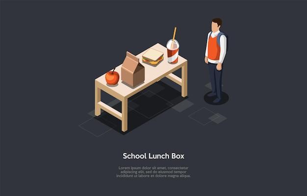 Schulbrotdose inhalt konzept illustration. isometrische vektorzusammensetzung, cartoon-3d-stil. dunkler hintergrund, text. junger student mit rucksack-stellung. pappschachtel, apfel, sandwich, getränkeglas.