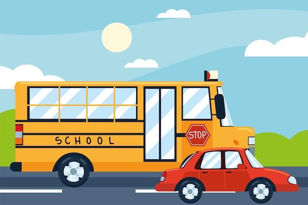 Schulbus auto stadtverkehr