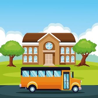 Schulbus, der durch karikatur überschreitet