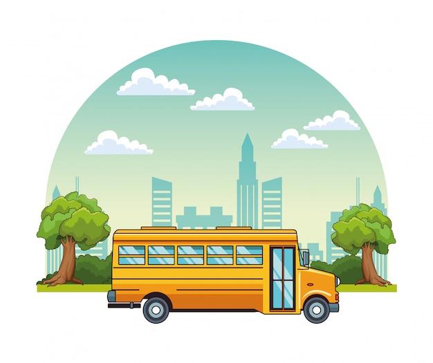 Schulbus, der durch stadtlandschaft überschreitet