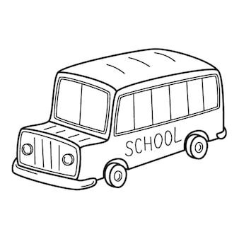 Schulbus im doodle-stil. handgezeichnete schwarz-weiß-vektor-illustration.