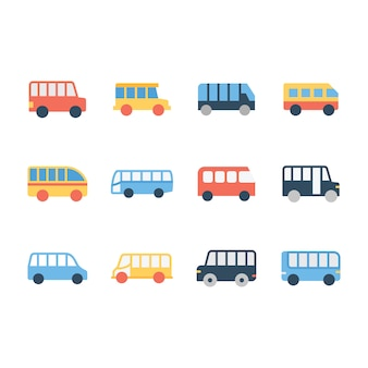 Schulbus linie icons pack