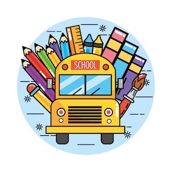 Schulbus mit bleistiftfarben und lineal