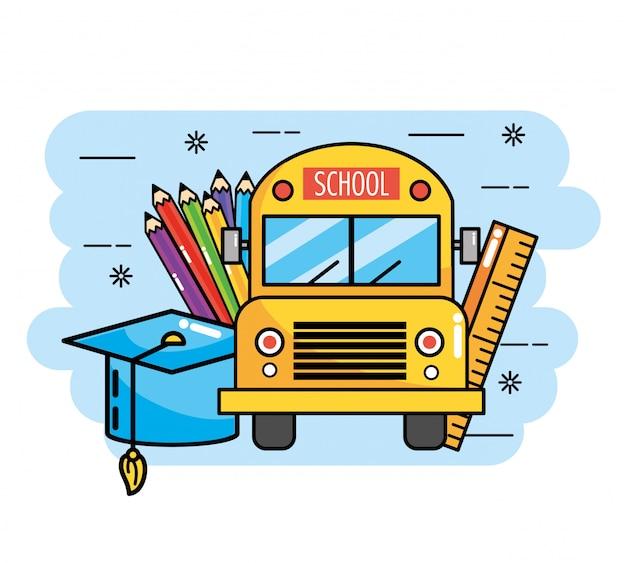 Schulbus mit lineal und bleistiftfarben