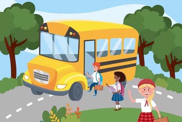 Schulbus mit mädchen und jungen studenten