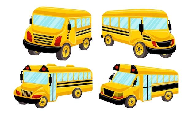 Schulbus-schablonen-vektor lokalisierte design-satz