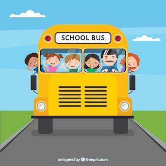 Schulbus und kinder mit flachem design