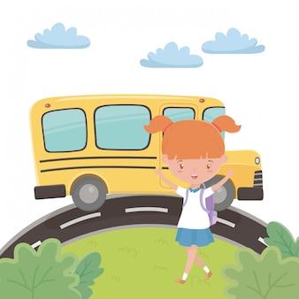 Schulbus und mädchen