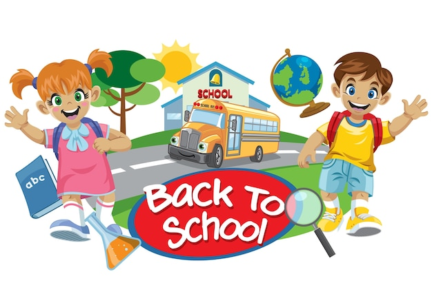 Schulbus und nettes kind