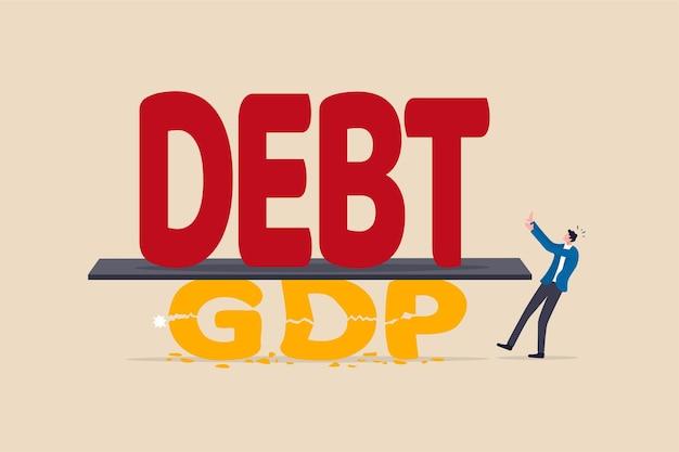 Schulden gegenüber der bip-krise, covid-19 verursacht konzept der wirtschaftlichen rezession
