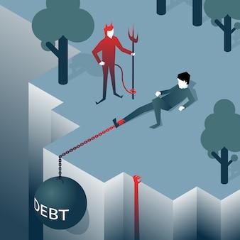 Schulden nehmen mann über eine klippe ab. last zieht in den abgrund. insolvenz, verbindlichkeiten. vektorillustration