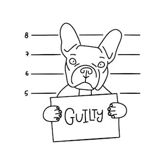 Schuldiges konzept. bulldogge böser junge. hund mit schild in den pfoten im gefängnis. polizei-fahndungsfoto-hintergrund. bulldogge-verbrecher. verhafteter hund. lineare vektorillustration.