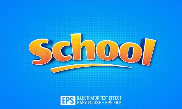 Schule 3d-text bearbeitbare stileffektvorlage Premium Vektoren