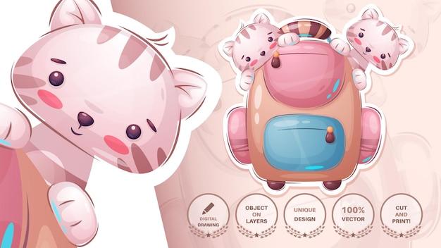 Schule cartoon charakter tier mit aktentasche niedlichen aufkleber vektor eps 10