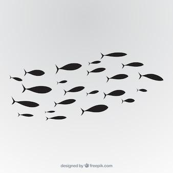 Schule der gezeichneten art des fische hintergrundes in der hand