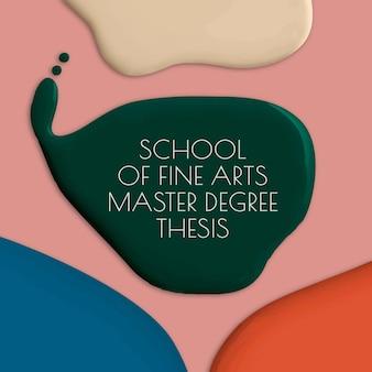 Schule der schönen künste vorlage vektor farbe malen abstrakte social-media-anzeige