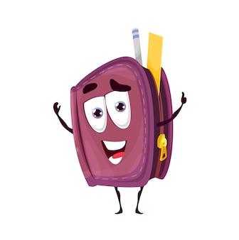 Schule federmäppchen lächelnde zeichentrickfigur