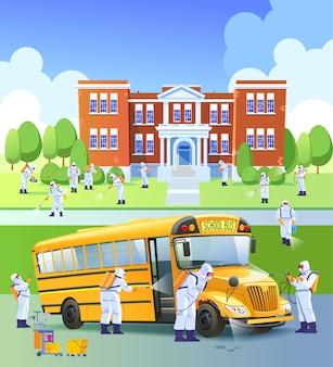 Schule geschlossen, quarantäne. arbeiter sprühen desinfektionsmittel als teil vorbeugender maßnahmen gegen die ausbreitung des covid-19- oder novel-coronavirus in einer schule und einem schulbus. karikaturillustration