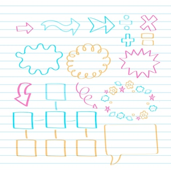 Schule infografik elemente in bunten markern sammlung