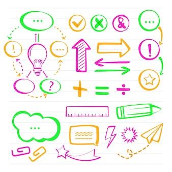 Schule infografik elemente in bunten markierungen