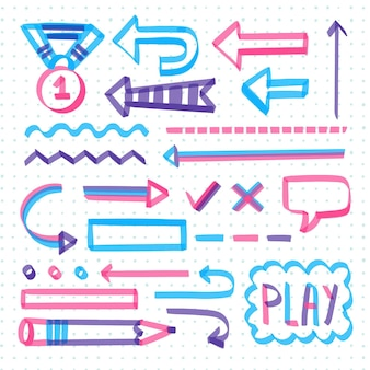 Schule infografik elemente mit bunten markern pack