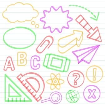 Schule infografik elemente mit bunten markern sammlung