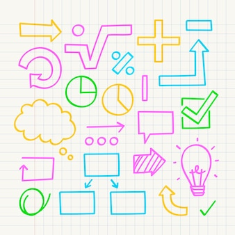 Schule infografik elemente mit bunten markierungen