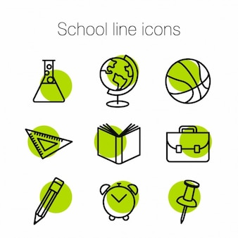 Schule linie ikonen