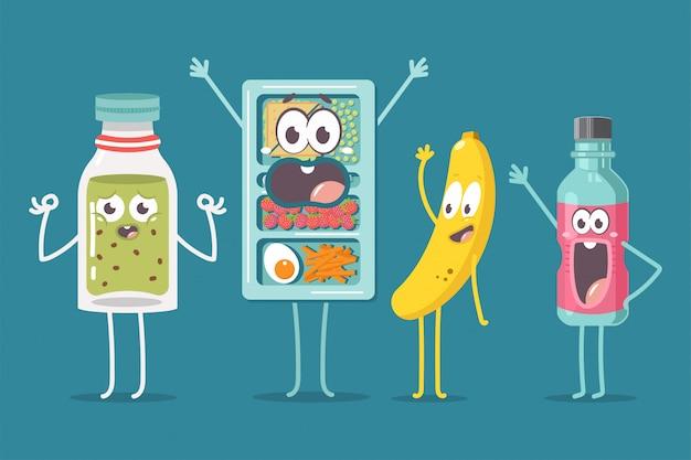 Schule lunchbox, smoothie, wasserflasche und banane charakter vektor cartoon illustration isoliert.