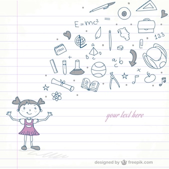 Schule mädchen vektor doodle