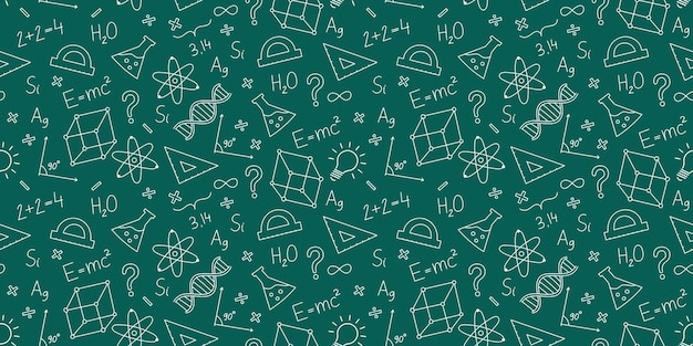 Schule nahtloses wissenschaftliches muster formeln chemie physik geometrie mathematik
