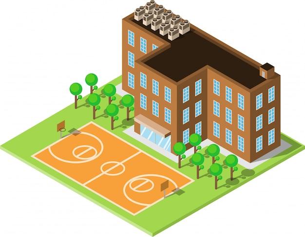 Schule oder universitätsgebäude mit basketballstadion
