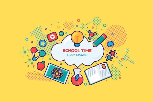 Schule-online-bildungskurs-banner-vektor. fernstudium, internet-studium und ausbildung. chemie- und physik-, literatur- und mathematikunterricht. studieren sie zeit flache cartoon-illustration