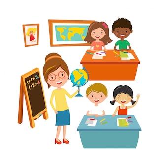 Schule scherzt bildungsgrundschulelernen und leutekonzeptvektor.