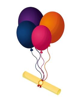 Schule scroll-zertifikat mit ballons fliegen