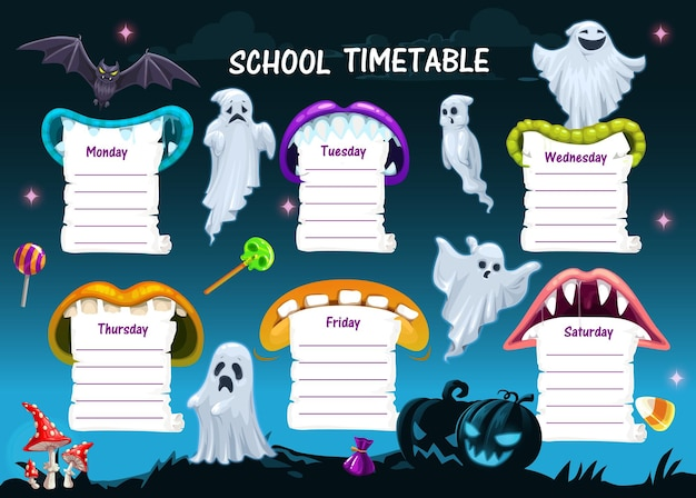 Schule stundenplan zeitplan vorlage, halloween cartoon wochenplaner, vektor. halloween-ferien-schulwochenplaner, bildungsplan-organisator-zeitplan mit monstergeistern und kürbissen