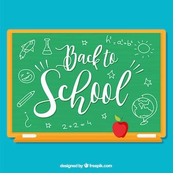Schule tafel mit zeichnungen und apfel